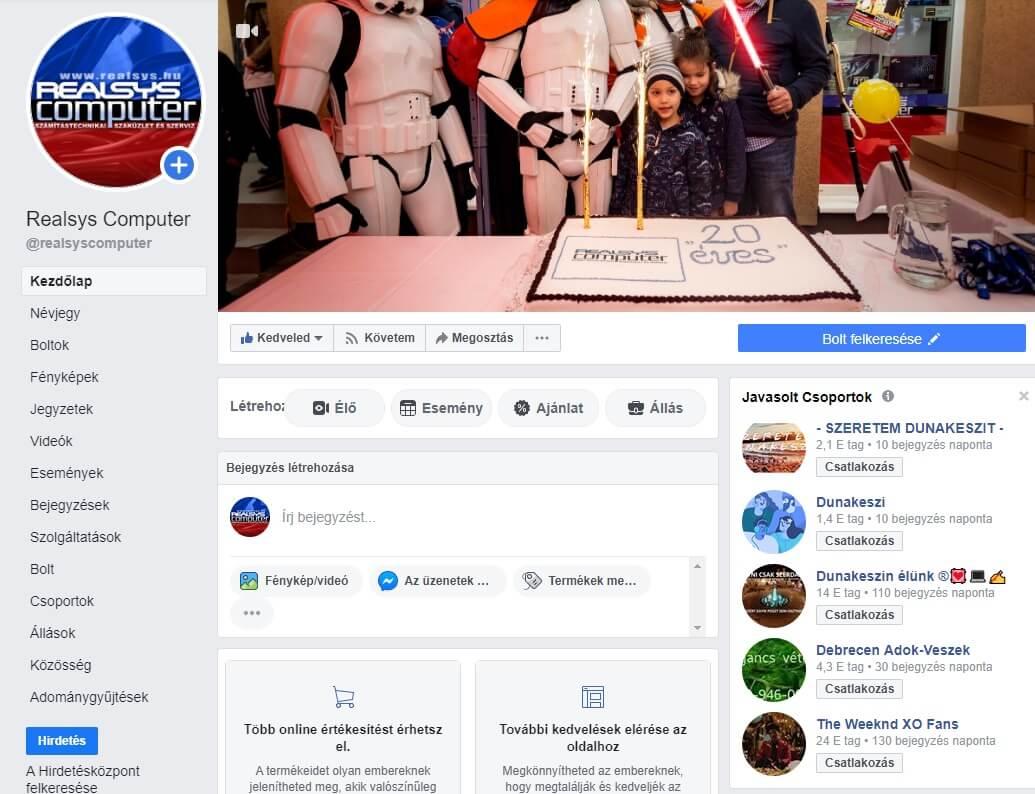 realsys-facebook-oldal